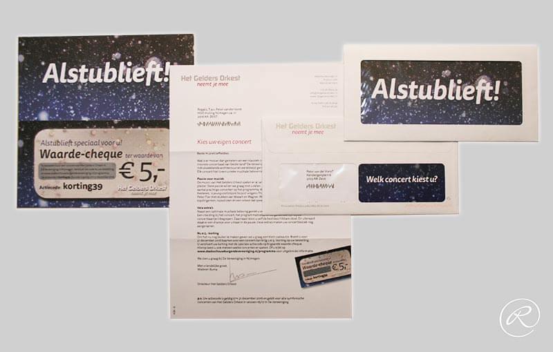 Het Gelders Orkest, direct mailing cheque